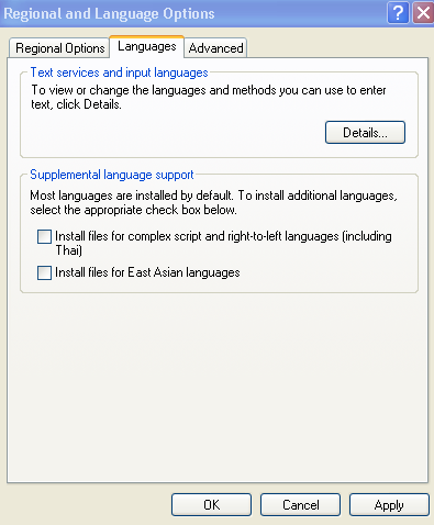 Languages Window