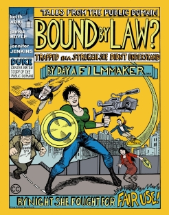 Cover of comic, superhero with video camera and creative commons shield
