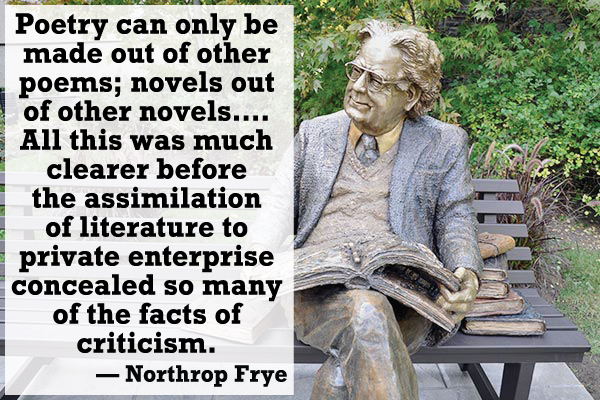 Northrop Frye quote – Poetry can only be made out of other poems\; novels out of other novels....All this was much clearer before the assimilation of literature to private enterprise concealed so many of the facts of criticism.