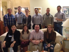 Duke Law National Security Law Society students have a final organizational meeting in Prof. Dunlap's home prior to heading to the ABA Conference on Nov 15th.