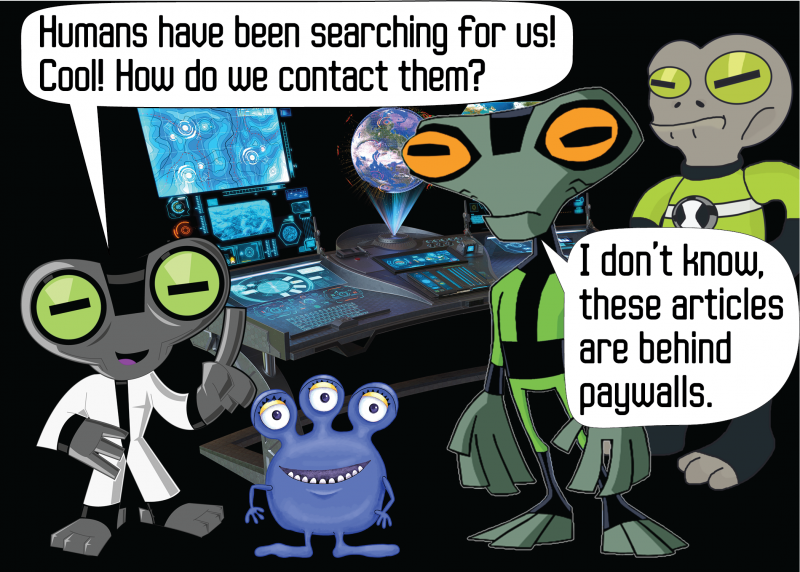 Aliens: Humans have been searching for us! Cool! How do we contact them? ... I don't know, these articles are behind paywalls.
