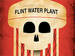 Illustration of water tower imposed with skull that reads Flint Water Plant