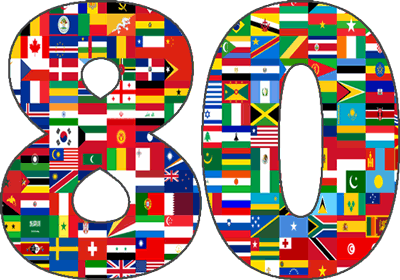 Illustration of number 80 that includes flags from countries around the world