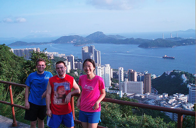 Students at Hong Kong Institute with city in background