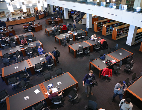 Third floor of the library as seen from above