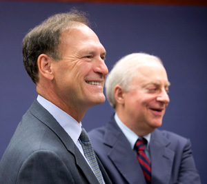 Justice Samuel A. Alito Jr. with Dean David F. Levi