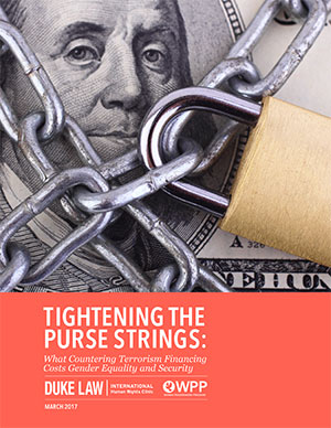 Cover of report, Tightening the Purse Strings, illustrating lock on American currency