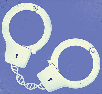 Illustration of pair of closed handcuffs
