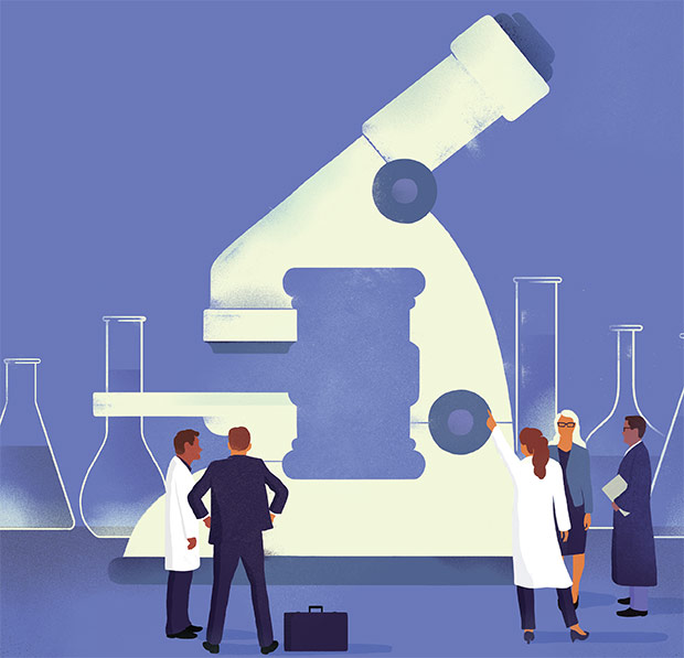 Illustration of lawyers and scientists looking, pointing at a microscope