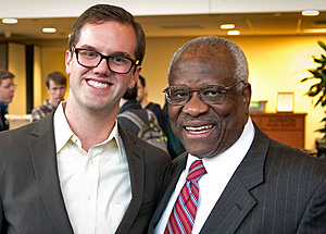 Justice Clarence Thomas with Chris Girouard '15