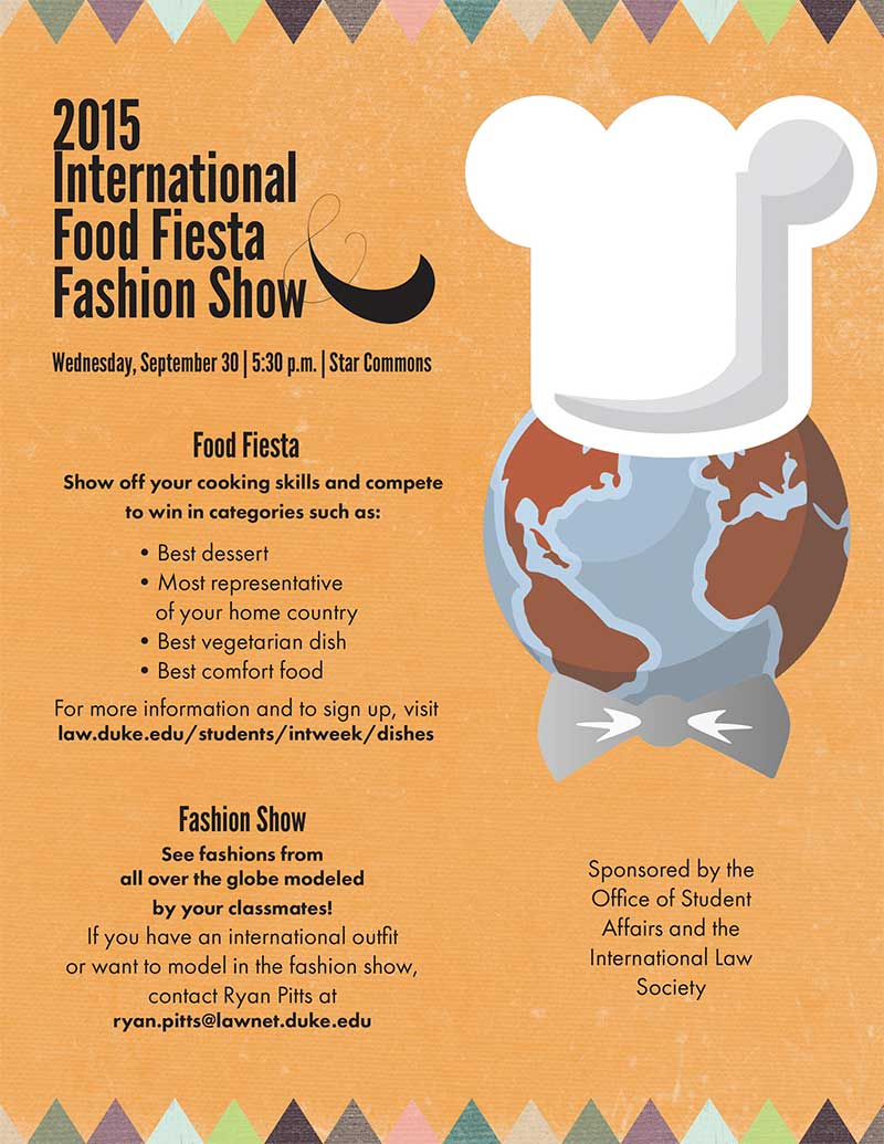 International Week 2015 flyer for the Food Fiesta and Fashin Show