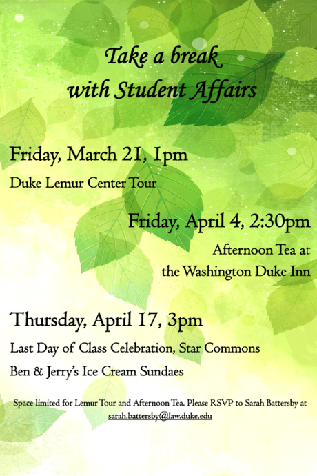 Duke Law Spring Wellness Events Poster