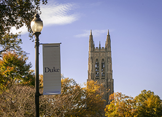 Duke Chapel surrounded by fall foliage