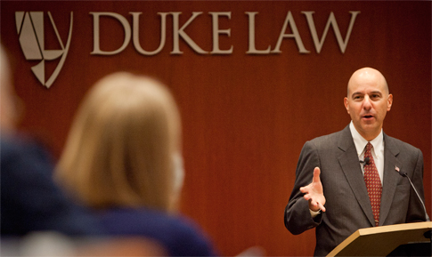 David Kappos, Undersecretary of Commerce for Intellectual Property and Director of the United States Patent and Trademark Office (USPTO) speaking at Duke Law