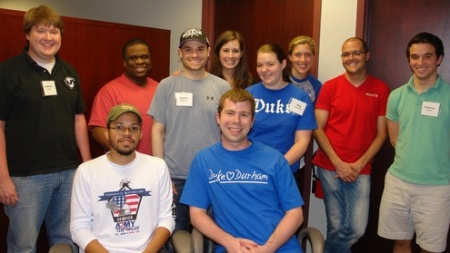 Thank-a-Thon volunteers on May 9: Rear: Andrew Hand, Brandon Myers, Robert McGuire, Madison Jones, Meg Turlington, Jennifer Feistritzer, Nir Shnaiderman, Andrew Perrin.  Front: Dean Brazier, Phil Rubin