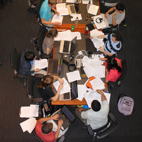 Overhead view of students at table