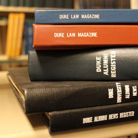 Stack of Duke Law books