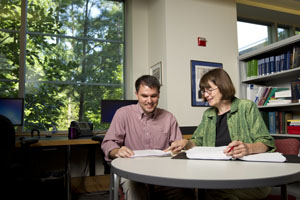 Will LeDoux '13 and Supervising Attorney Allison Rice work in the Law School's clinic office.