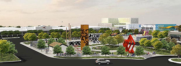 Artist's rendering of the planned Reuse Arts District in central Durham