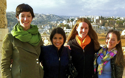 In Amman, Jordan, L-R:  Clinical Professor Jayne Huckerby, Sitara Witanachchi '14, Emily Spiegel '14, and Isabella Bellera '14