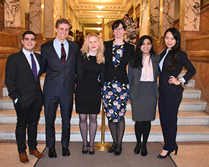 Christian Vazquez '17, John Epling '17, IHRC Supervising Attorney Sarah Adamczyk, IHRC Director Jayne Huckerby, Suman Momin '17, Anna Guo '17 at the New York Bar Association.