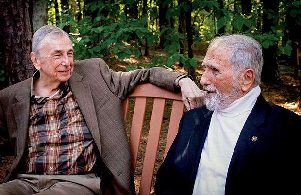 John Semonche '67, left, and Nick Galifianakis '53