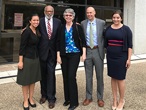 (L-R) Duke Law's Eileen Ulate '19, professors James E. Coleman, Jr., Theresa Newman, and Jamie Lau, and Sarah Milkovich '19