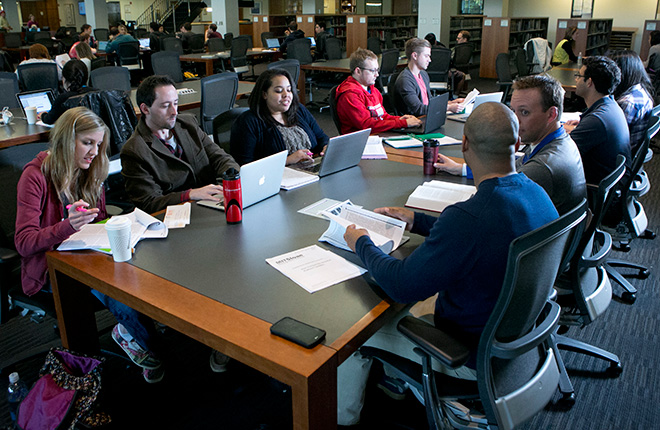 Students in the J. Michael Goodson Law Library at Duke Law