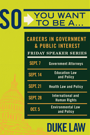 Careers in Government & Public Interest speaker series poster