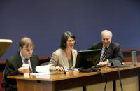 Professors Ernie Young and Maggie Lemos, Dean David F. Levi