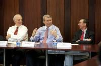 Dean David F. Levi, Bob Weber '76, Prof. Jim Cox