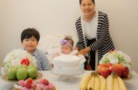 Hyelim Lee from S Korea and her children Brian and baby Olivia