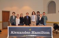 Professor Dunlap with the faculty advisor and officers of the Alexander Hamilton Society at Miami University (OH) where guest lectured on February 17th