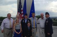 Maj Gen Dunlap with Colonel Linell Letendre and her family at the Air Force Memorial following her promotion ceremony at which he was the presiding officer.