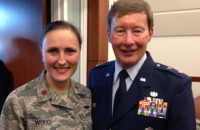 Major Maureen Woods and Maj Gen Dunlap at Colonel Oler's promotion. In 2009 Major Woods was injured in an enemy IED attack in Iraq returning from an event with General Dunlap. She has fully recovered.