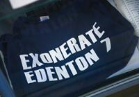 "T-shirt with words, ""Exonerate Edenton 7"""