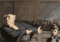 Illustration of 1800s courtroom with lawyer pointing to young defendant