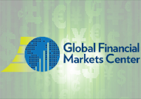 Logo for  Duke Law's Global Financial Markets Center with global curency symbols in the background