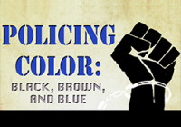 Policing Color poster cover illustration of a black fist with a handcuff around it