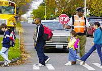 School crossing guard with students