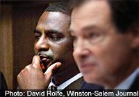 Kalvin Michael Smith in courtroom, photo by David Rolfe, Winston-Salem Journal