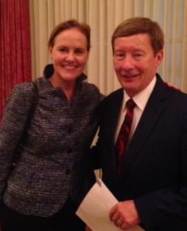 Hon. Michelle Flournoy, Co-Founder and Chief Executive Officer of the Center for a New American Security (CNAS),  and Professor Dunlap at the CNAS Board dinner on Sept 21st in Washington, DC