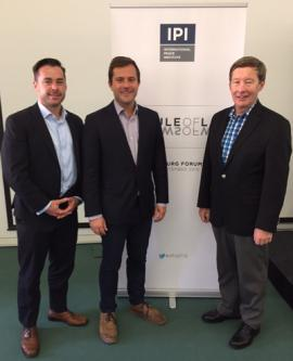 Professor Dunlap with Mr. Tripp Zanetis and Mr. Steven Hill of the NATO legal staff at the International Peace Institute forum in Salzburg, Austria.