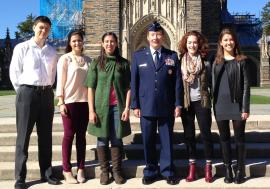 Mr. Harrington, Ms. Caesar, Ms. Lucero, Maj Gen. Dunlap, Ms. Stuart, and Ms. Welch at Duke University's Veterans' Day wreath-laying ceremony.