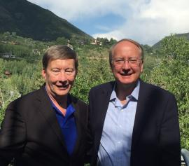 Professor Dunlap with the Department of Energy's Under Secretary for Nuclear Security at the Aspen Security Forum on July 29th