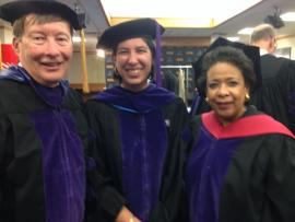 Newly commissioned 2LT Gabs Lucero (center) was the JD student speaker at Duke Law's hooding ceremony on May 12, 2017, which also featured guest speaker Loretta Lynch.