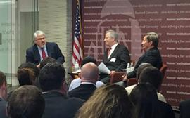 "Professor Jack Goldsmith of Harvard, Orde Kittrie of Arizona State University, and Professor Dunlap discuses Professor Kittrie's new book ""Lawfare"" at Stanford's Hoover Institution's center in Washington DC."