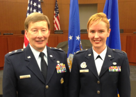 On January 30th, 2015 Maj Gen Dunlap officiated at the promotion ceremony for Colonel Kate Oler at Joint Base Andrews, MD. Colonel Oler is the Air Force's chief prosecutor.