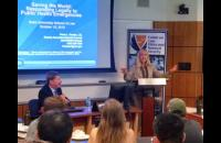 Ms. Paula Kocher of the CDC's general counsel office spoke to a standing-room only student audience on Oct 15th