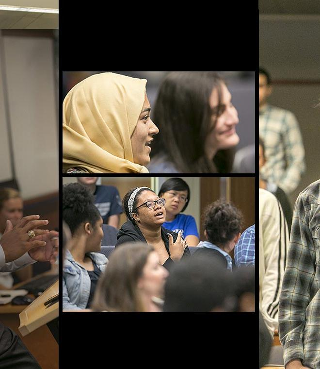 Collage of Duke Law students in classroom asking questions during Diversity of Thought: Finding Common Ground